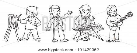 Coloring picture or coloring book set off funny artist or painter with paintbrush, musician with guitar, vocalist or singer and xylophonist. Profession series. Children vector illustration.