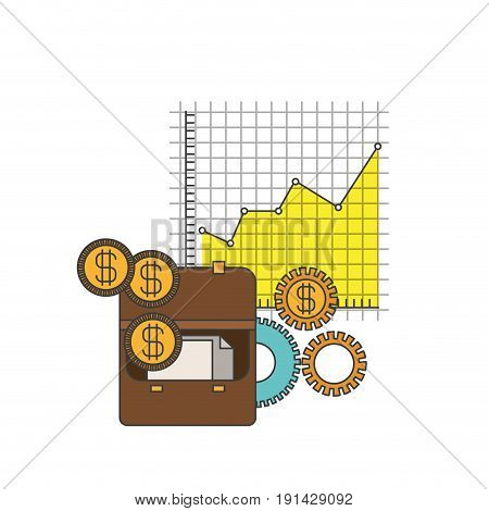 white background with colorful portfolio and grid with graphics growth economy vector illustration