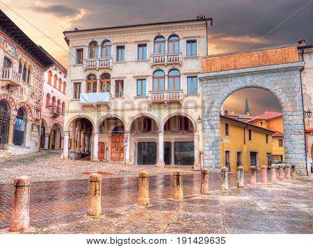 Arch of Piazza Marc Antonio Flaminio in Serravalle, Vittorio Veneto, Italy