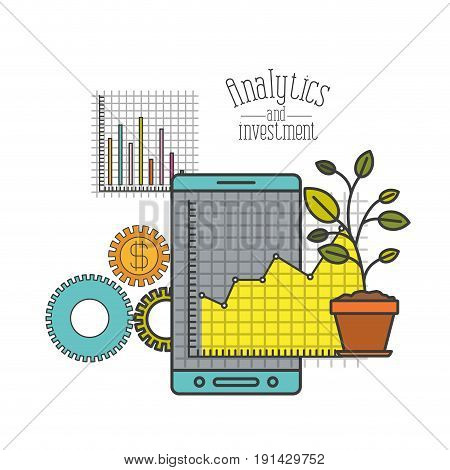 white background with colorful smartphone grid with graphics growth economy vector illustration
