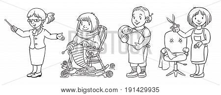 Woman. Coloring book set of funny nanny or mother with a baby, teacher with pointer, knitter, and haircutter. Profession ABC series. Children vector illustration.