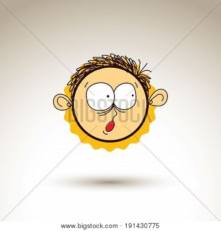 Vector graphic drawing of surprised person face bizarre male portrait. Social network theme illustration human emotions idea.