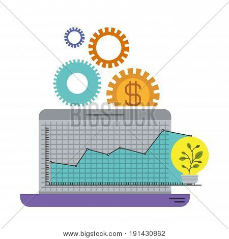white background with colorful laptop computer grid with graphics growth economy vector illustration