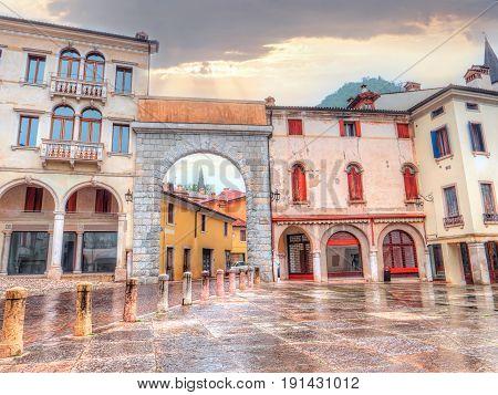 Arch of Piazza Marc Antonio Flaminio, Vittorio Veneto, Treviso province, Italy