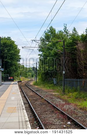 Single Track Rail Line In Rural Countryside