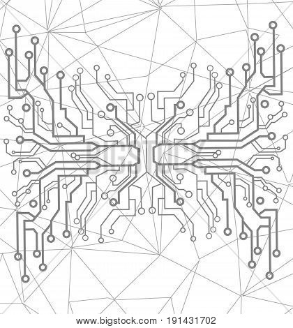 Printed circuit texture background. Seamless black and white electronic plate pattern vector. Circuit board vector illustration. Futuristic background