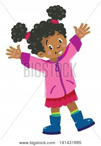 Children vector illustration of funny african girl in pink coat and rubber waving by hands
