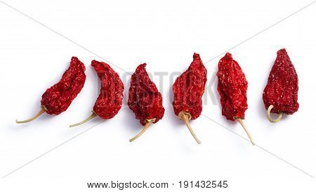 Dried Bhut Jolokia Ghost Chiles, Paths, Top View