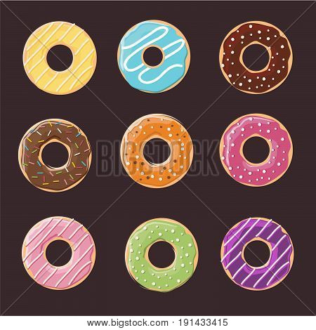 Collection of glazed colored donuts vector with icing sprinkles