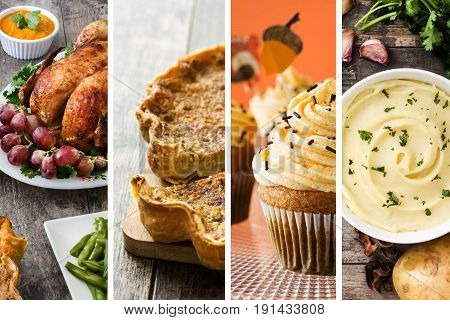 Collage of Thanksgiving food. Turkey, pumpkin pie, mashed potato and Thanksgiving cupcakes.