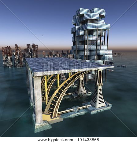 flooded city-futuristic architecture on alien planet 3D rendering