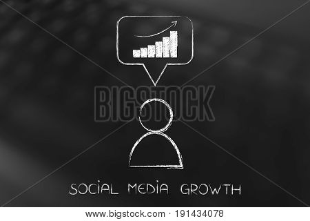 Social Media User With Analytics In Comment Icon