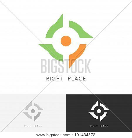 Right place logo - address mark and target symbol. Position, location and destination vector icon.