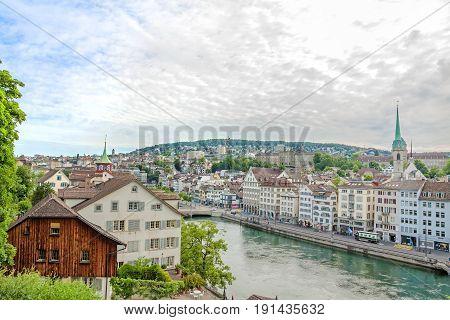 Limmat With  Limmatquai, Downtown Zurich, Switzerland