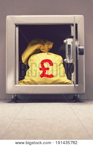 Bag of money with euro sign in open locker