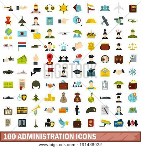 100 administration icons set in flat style for any design vector illustration
