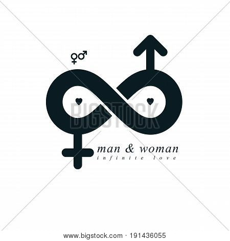 Infinite Love concept vector symbol created with infinity sign and male Mars an female Venus signs. Relationship creative idea.