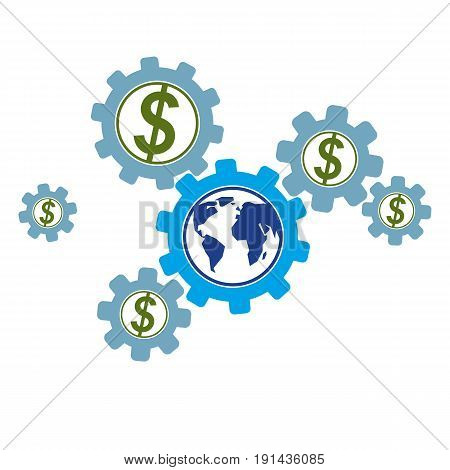 Global Business and E-Business creative logo unique vector symbol created with different elements. Global Financial System. World Economy.