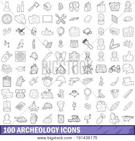 100 archeology set in outline style for any design vector illustration