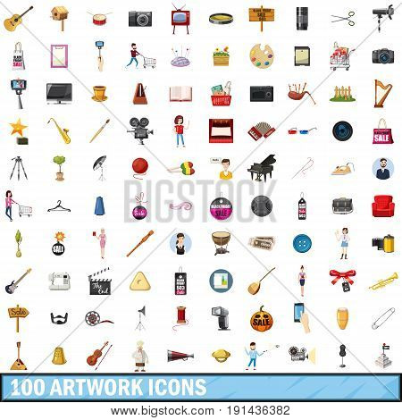 100 artwork icons set in cartoon style for any design vector illustration