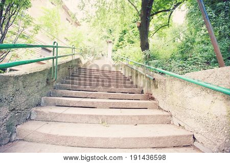 View of staircase in park; Zagreb; Croatia