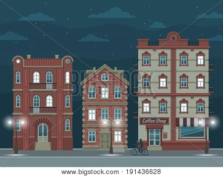 Night street with vintage houses illuminated by streetlights. Vector illustration easy to rebuild.
