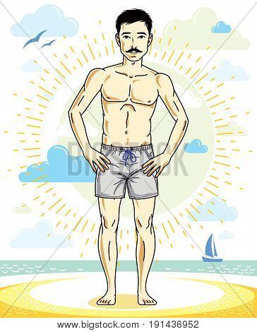 Handsome man with whiskers standing on tropical beach and wearing beachwear shorts. Vector human illustration. Summer vacation theme.
