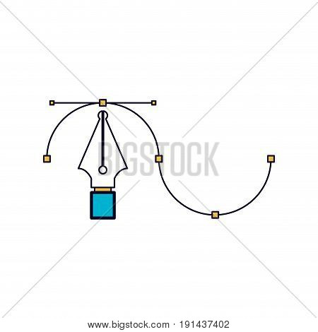 white background with color sections silhouette of fountain pen graphic tool vector illustration