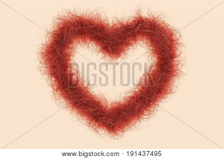 3d illustration; Heart Shape with red Hair as Symbol against the female Shave
