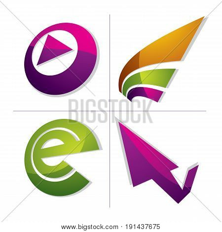 Set Of Three-dimensional Abstract Icons, Play Sign, Checkmark And E-mail Sign. 3D Vector Push Button