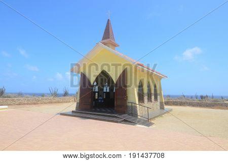 Alto Vista Chapel standing in Noord Aruba.