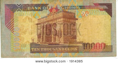Old paper banknote money Ghana cedis ten thousand poster