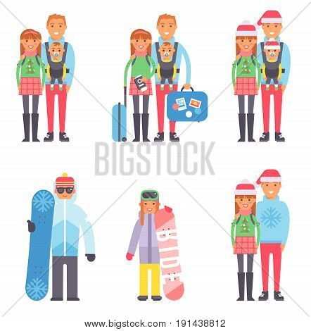 Travel couple winter vacation time with suitcases ready to travel, people travel concept. Vector vacation family character tourism. Family with baggage and passport