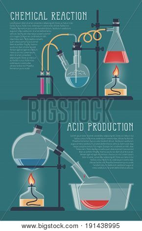 Illustration of simple chemical reactions in glass laboratory flasks. Vector illustration.