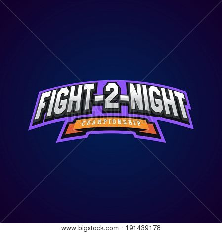 Night Fight. Mixed Martial Arts Sport Logo On Dark Background.