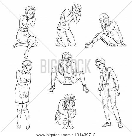 People with depressed emotions in different poses. Vector illustration in sketch style