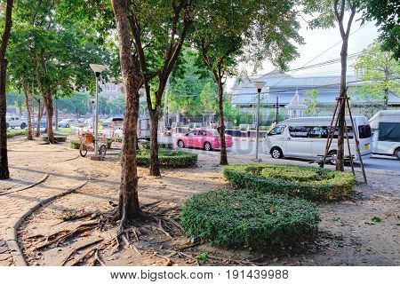 Bangkok, Thailand - December 4, 2015: Chao Fa Road is one of the tourist streets of Bangkok with many shops hotels temples market places and restaurants. It crosses the Khaosan rd.