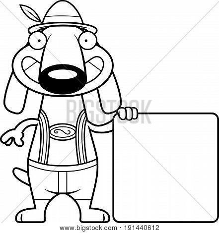 Cartoon Dachshund Lederhosen Sign