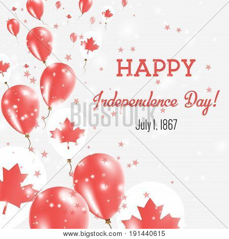 Canada Independence Day Greeting Card. Flying Balloons In Canada National Colors. Happy Independence