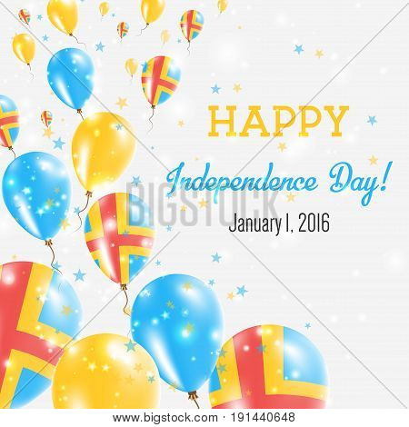 Aland Islands Independence Day Greeting Card. Flying Balloons In Aland Islands National Colors. Happ