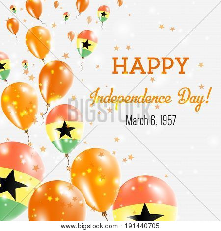 Ghana Independence Day Greeting Card. Flying Balloons In Ghana National Colors. Happy Independence D
