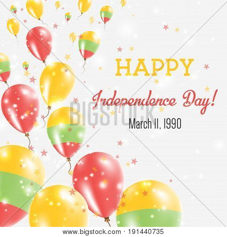 Lithuania Independence Day Greeting Card. Flying Balloons In Lithuania National Colors. Happy Indepe