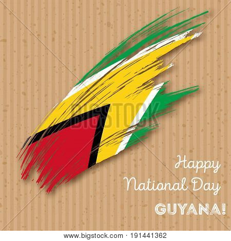 Guyana Independence Day Patriotic Design. Expressive Brush Stroke In National Flag Colors On Kraft P