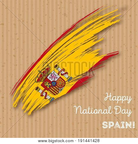 Spain Independence Day Patriotic Design. Expressive Brush Stroke In National Flag Colors On Kraft Pa