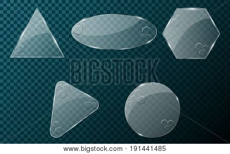 Realistic glass objects on a blue transparent background. A set of blank banners for your projects. Hi-tech in design. Brilliant clear glass. Vector illustration. EPS 10