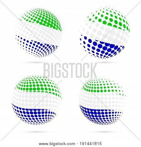 Sierra Leone Halftone Flag Set Patriotic Vector Design. 3D Halftone Sphere In Sierra Leone National