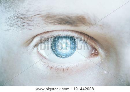 Close up of green digital male eye. Biometrics concept