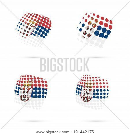 Serbia Halftone Flag Set Patriotic Vector Design. 3D Halftone Sphere In Serbia National Flag Colors