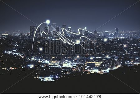 Night city background with abstract digital objects. Technology concept