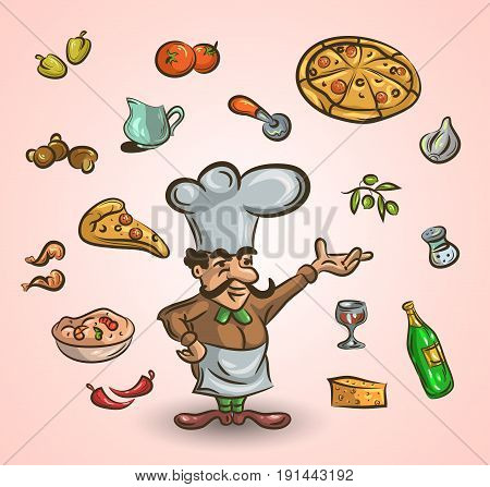Italian cuisine and food hand-drawn illustration with a handsome chef in a toque holding a food dome surrounded by icons cooking ingredients